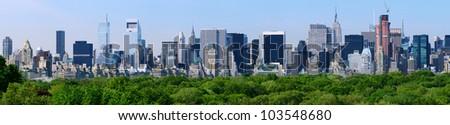 Panorama of midtown Manhattan in New York City - stock photo