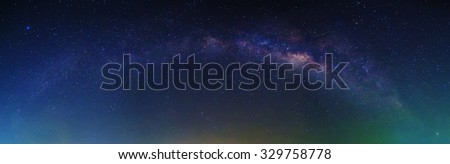 Panorama of Milky Way with stars and space dust at night - stock photo