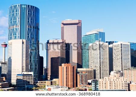 Panorama of modern Calgary skyline. Calgary, Alberta, Canada. - stock photo