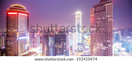 panorama of modern city at twilight night