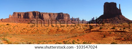 Panorama of Monument Valley, Arizona, with the the West Mitten at right