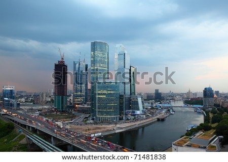 panorama of Moscow City complex of skyscrapers at evening in Moscow, Russia - stock photo