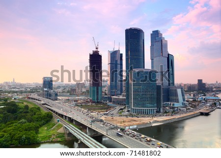 panorama of Moscow City complex of skyscrapers in Moscow, Russia, sunset, evening - stock photo