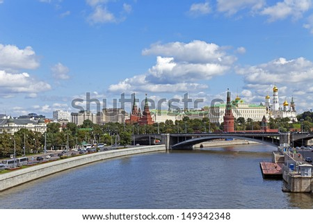Panorama of Moscow. View of the Great Stone Bridge and the Kremlin Embankment