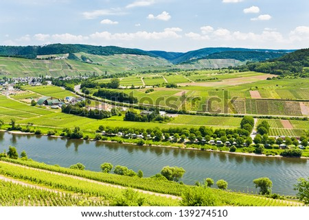 panorama of Moselle valley and Mosel river in summer day, Germany - stock photo