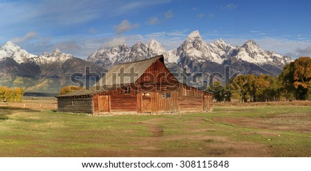 Panorama of Moulton's Barn and the Grand Teton's National Park - stock photo