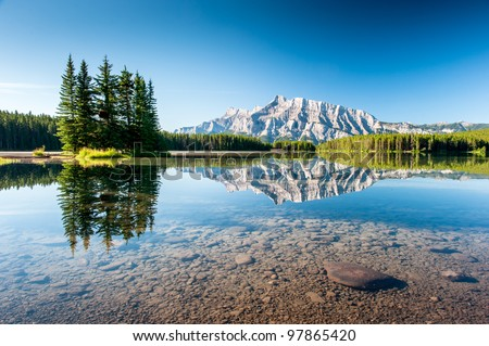 Panorama of Mount Rundle from Cascade Ponds Lake. Banff National Park, Canada