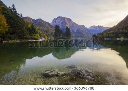 panorama of mountain lake in the Julian Alps,Lago de Predil