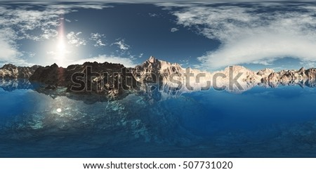 panorama of mountain lake. made with the one 360 degree lense camera without any seams. ready for virtual reality. 3D illustration