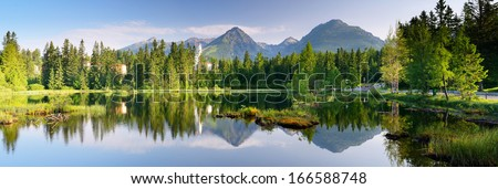 Panorama of mountain lake. Slovakia, the resort Strbske Pleso - stock photo