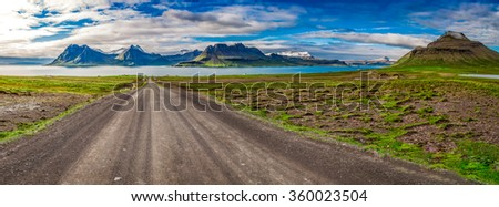 Panorama of mountain peaks and fjords in Iceland - stock photo