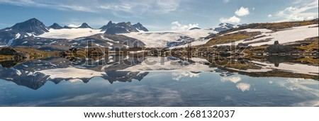 panorama of mountains and lakes in the norwegian national park