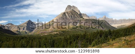 Panorama of Mountains in Glacier National Park - stock photo