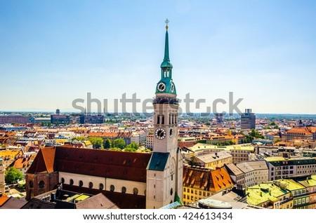 Panorama of Munich. St. Peter's Church - stock photo