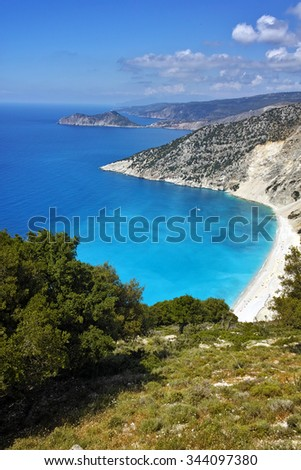 Panorama of Myrtos beach, Kefalonia, Ionian islands, Greece