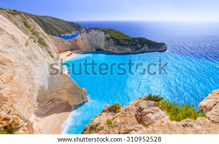 Panorama of Navagio Beach (Shipwreck beach) on Zakynthos Island, Greece - stock photo