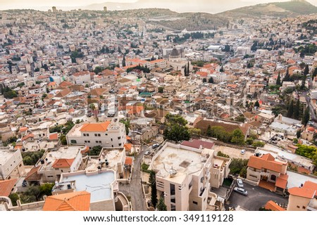 Panorama of Nazareth with Basilica of Annunciation, Galilee, Israel - stock photo