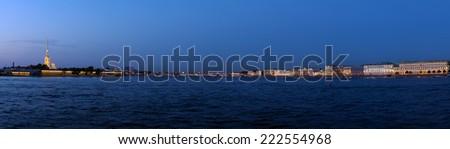 Panorama of Neva River at Evening, Saint Petersburg - stock photo
