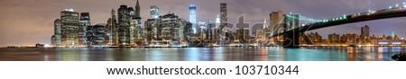 panorama of new york city - stock photo