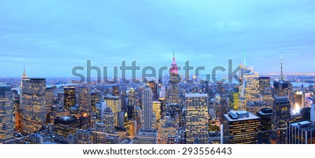 Panorama of New York City at dusk