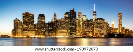 Panorama of New York City Manhattan skyline at dusk from Brooklyn - stock photo