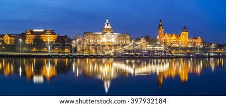 panorama of night city,Szczecin,Poland - stock photo