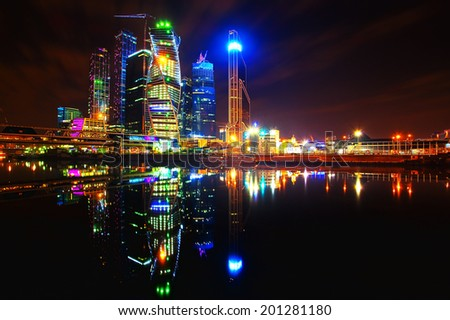 "Panorama of night city (View of ""Moscow City"" - business center of Moscow, Russia) - stock photo"