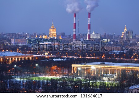Panorama of night Moscow . The view from the top