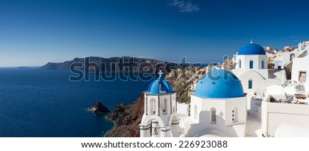 Panorama of Oia, Santorini, Cyclades, Greece - stock photo