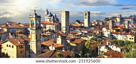 panorama of old Bergamo on sunset, Italy - stock photo
