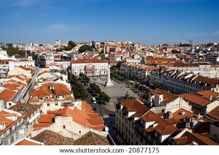 Panorama of old Lisbon with orange roofs, Portugal