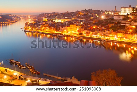 Panorama of Old Town of Porto at dusk. Portugal - stock photo