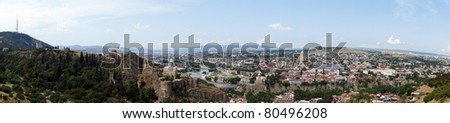 Panorama of Old Town of Tbilisi city with medieval castle of Narikala and muslim and armenian ancient areas overview, Republic of Georgia, Caucasus region