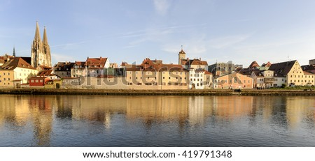 panorama of old town Regensburg with river Danube