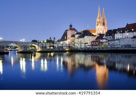panorama of old town Regensburg with river Danube - stock photo
