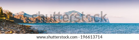 Panorama of old volcano on a Black sea coast