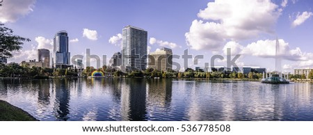 Panorama of Orlando at Lake Eola.
