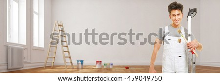 Panorama of painter during renovation of a room (3D Rendering)