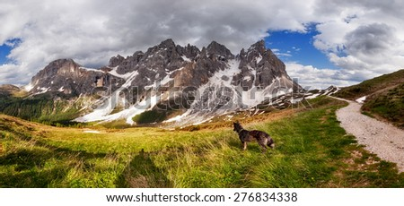 Panorama of Pale di San Martino mountain, Dolomites Alps, Italy - stock photo