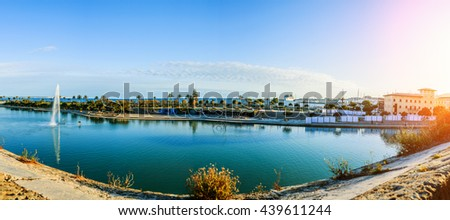 Panorama of Palma de Mallorca. Palma is capital and largest city of autonomous community of Balearic Islands in Spain. It is situated on south coast of Majorca on Bay of Palma. - stock photo