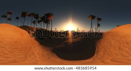 panorama of palms in desert at sunset. made with the one 360 degree lense camera without any seams. ready for virtual reality. 3D illustration