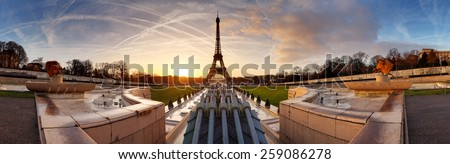 Panorama of Paris at sunrise with Eiffel tower - stock photo