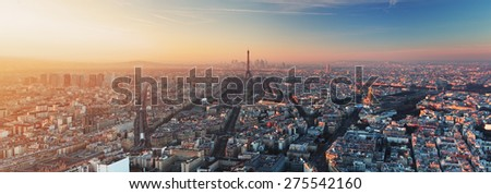 Panorama of Paris at sunset - stock photo