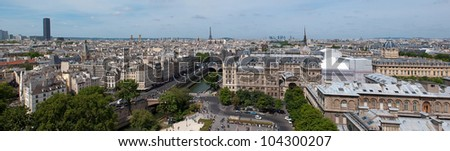 Panorama of Paris from Notre Dame. Eiffel and Monparnasse in the background. France