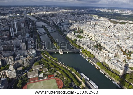 Panorama of Paris from the Eiffel Tower, France.