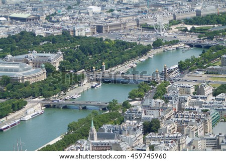 Panorama of Paris from the top of the Eiffel tower, the Seine river