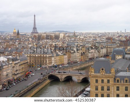 Panorama of Paris landscape with Eiffel tower and Seine river. View from Cathedral Notre Dame de Paris. France.