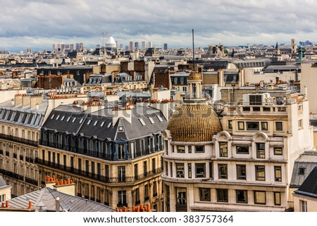 Panorama of Paris on the Sunset. View from Printemps store. France