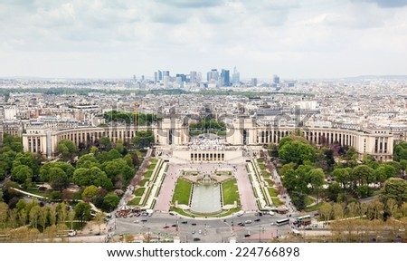 Panorama of Paris, the Trocadero and La Defense from the top platform of the Eiffel Tower. - stock photo
