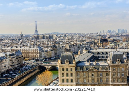 Panorama of Paris. View from Cathedral Notre Dame de Paris. France.